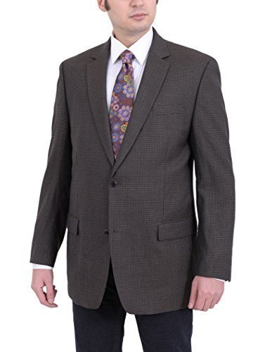 Michael Kors Modern Fit Olive Brown Houndstooth Two Button Wool Blazer Sportcoat