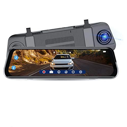 "SYLVANIA Roadsight Mirror Dash Camera and Backup Camera - 340 Degree View - HD 1080p, Elastic Mount, 32GB Memory Card, G-Sensor, 9.66"" LED IPS Touch Screen, Truck, Car, Taxi"
