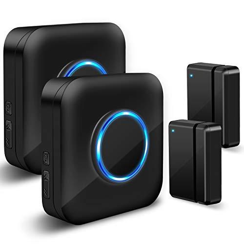 Door Chime Wireless Door Sensor - BISTEE Door Sensor Alarm Kit with 600 FT Range, Door Open Chime 5 Volume Levels, 58 Melodies, LED Indicator for Business/Home/Office/Stores