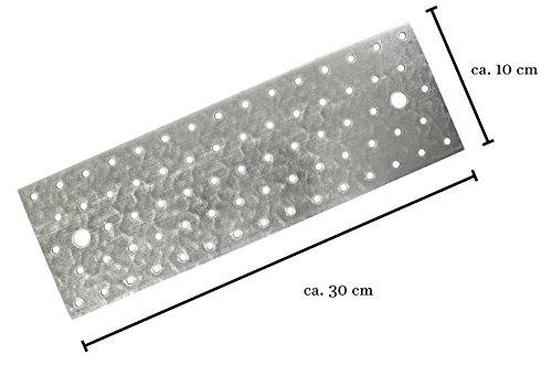 Helmecke & Hoffmann * Lochplatte 30 x 10 x 0,2 cm | sendzimirverzinktes Feinblech | Lochblech Flachverbinder für tragende Zwecke | Made in Germany (2)