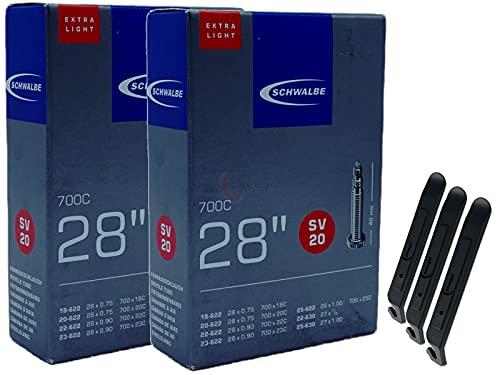 pneugo! Schwalbe Sclaverand 18-622/25-630 SV20 - Juego de 2 cámaras de aire para bicicleta (28', muy ligeras, incluye 3 desmontadores de neumáticos)
