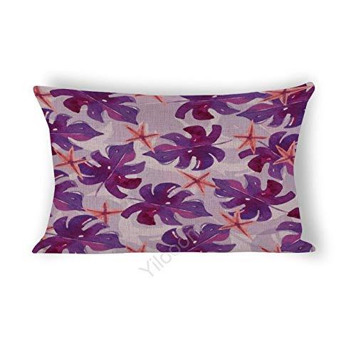 Funda de cojín rectangular de 35,5 x 60,9 cm, para cama, sofá, coche, decoración del hogar, diseño de hojas tropicales moradas