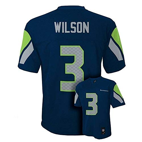 OuterStuff Russell Wilson Seattle Seahawks Youth MID Tier NFL Jersey - Navy (YTH Large (14-16))