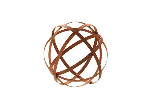 Kobolo Wunderschöne Dekokugel in Streifendesign und Rostoptik 35 cm Durchmesser