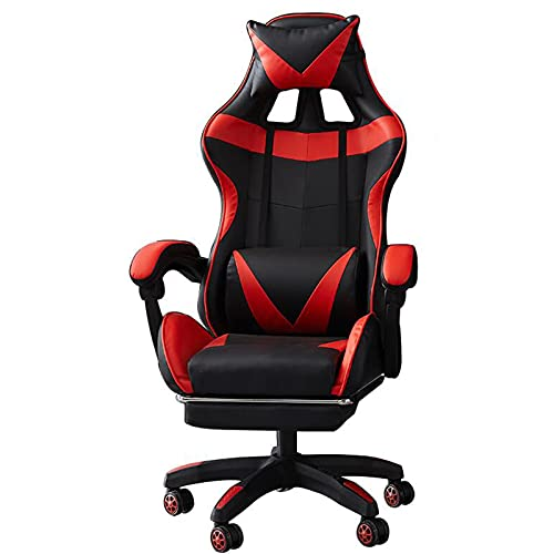 Pillows-RJF Bürostühle mit Armlehnen, Spielstühle mit Waffen Bürostühle mit Armlehnen, ergonomischer Gaming Chair, Verstellbarer Drehwagenstuhl (Color : Red)