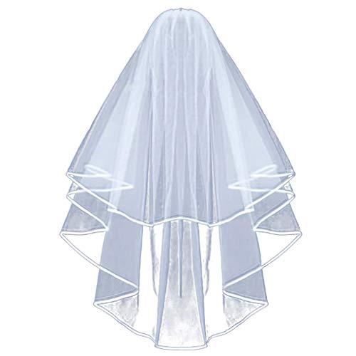 IYHENZ Braut Schleier Kopfschmuck Weiß Braut Tiara Stirnband Braut Hochzeit Schleier Haarschmuck Spitze Brautschleier mit Kamm Brautkleid Zubehör Set (Weiß, 1PC)