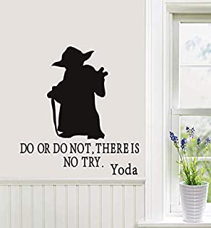 Letters Wall Decor Stickers Wall Vinyl Decal Art Sticker Yoda Quote Do or Do Not There is No Try Star Wars Boys Room Removable Stylish Mural Unique Design