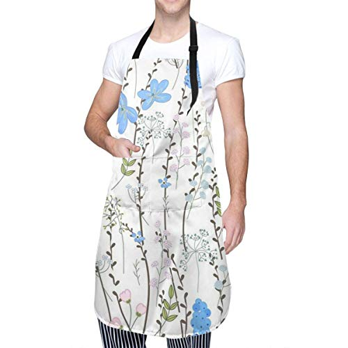 N\A Spring Pattern with Willow Branches Unisex Kitchen Home Clothes Durable Aprons with Adjustable Neck for Cooking Gardening Baking