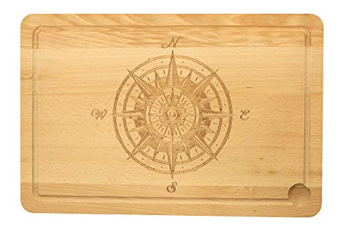 Spruchreif PREMIUM QUALITÄT 100{f50c59c773c695de1992beb248744b366512e0fc984f17818abaf5fcb06160b5} EMOTIONAL · XXL Schneidebrett Holz · Holzbrett mit Gravur · Kompass Motiv · Küchenbrett · Männergeschenke · Grillbrett · Grill Geschenke (Kompassrose ANTIK)