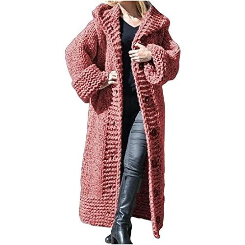 Wave166 Sudadera con capucha para mujer, de punto, de manga larga, para otoño e invierno, monocolor, elegante, gruesa, cálida, abrigo, suelta., Rosa-a., L