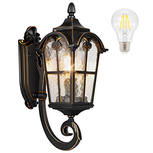 PARTPHONER Outdoor Indoor Light Fixtures Wall Mount Black Roman, Waterproof Outside Porch Light Wall Sconce Lighting, Exterior Wall Lantern with Water Glass for Garage, Porch, Doorway (Bulb Included)