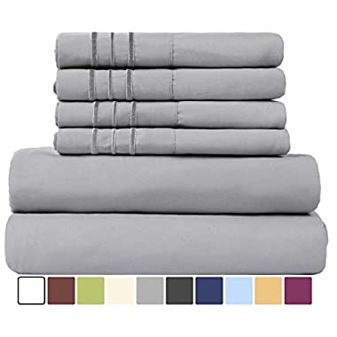 EASELAND 6-Pieces 1800 Thread Count Microfiber Bed Sheet Set-Wrinkle & Fade Resistant,Deep Pocket,Hypoallergenic Bedding set,Queen,Grey