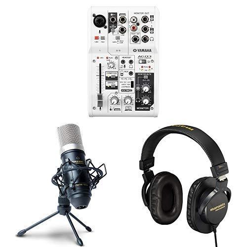 YAMAHA ヤマハ ウェブキャスティングミキサー 3 チャンネル AG03 + コンデンサーマイクロホン ウィンドスクリーン・スタンド・XLRケーブル付属 MPM-1000 + 密閉型モニターヘッドホン 40mmドライバー搭載 MPH-1 動画配信、録音