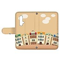 スマQ nova 5T YAL-L21 国内生産 カード スマホケース 手帳型 HUAWEI ファーウェイ ノバ ファイブティー 【C.オレンジ】 町並み イラスト ami_vd-0252