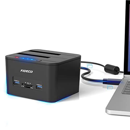 """Docking Station, FIDECO USB 3.0 Base de Conexión para Ordenador con Doble SATA para Discos de 2.5"""" y 3.5"""",Funcion Clone Offline, Soporte TF y Tarjeta SD"""