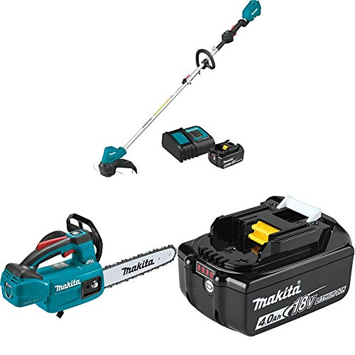 Makita XRU12SM1 18-Volt LXT Brushless Cordless String Trimmer Kit, 4.0Ah with XCU06Z 18-Volt LXT Brushless Cordless 10 in. Top Handle Chain Saw and BL1840B 18-Volt 4.0Ah LXT Lithium-Ion Battery