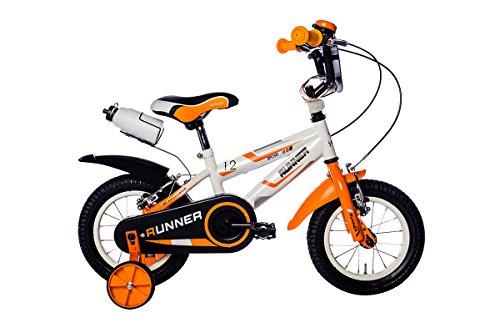 Schiano Kinderfahrrad 12 Zoll Runner mit Abnehmbare Stützräder Weiß Orange