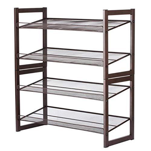 Jixi Zapatero de 4 capas de metal y hierro oblicuo, zapatero plano, caja de almacenamiento de zapatos para sala de estar guardarropa y pasillo zapatero