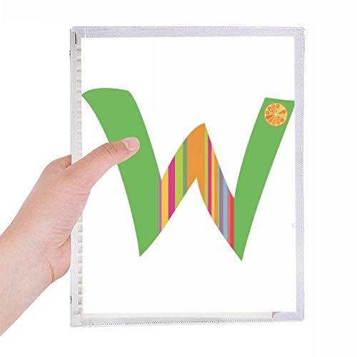 Cuaderno de hojas sueltas con diseño de fruta naranja con forma de letra W