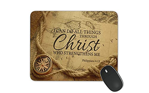 Christian Bible Verse Mouse Pad, I can do all things through Christ who strengthens Me Cloth Cover 9.45' X 7.87'X 0.12'