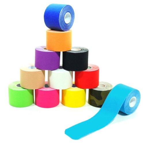 starlabels 6 Rollen Kinesiologie Tape 5 m x 5,0 cm in 12 Farben, Farbe:dunkelblau
