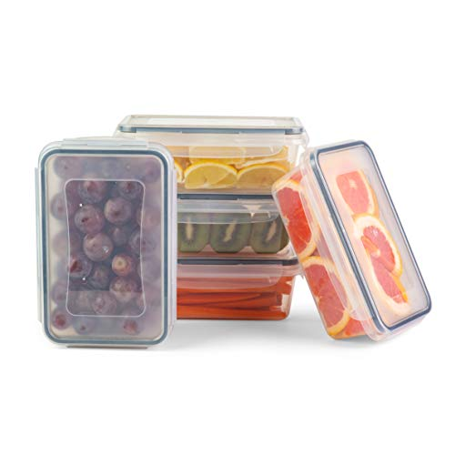 Airtight Stackable Food Storage Containers Set - 5 Leakproof BPA-Free Plastic...