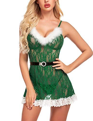 Avidlove Christmas Lingerie for Women Santa Babydoll Negligee Mrs Claus Lingerie(Green,L)