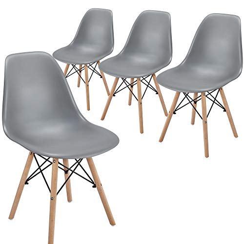 Yaheetech Dining Chairs PU Leather DSW Mid-century Upholstered Side Chair Soft Padded for Dining Room Living Room Resturant Home Kitchen 4PCS, Dark Gray