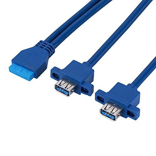 ASHATA Adaptador de Divisor USB 3.0 2 Puertos, USB3.0 19PIN A 2AF...