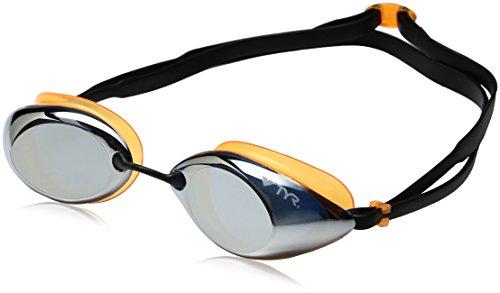 TYR Tracer Racing - Gafas de natación para Hombre, Color Gris Plata, Naranja y Negro