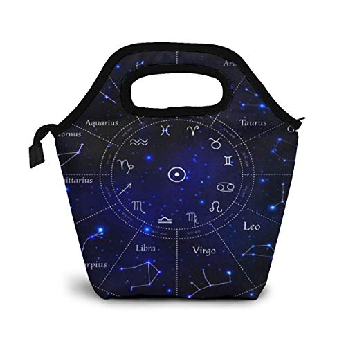 Onled Lunch-Tasche, Tierkreiszeichen, Sternbild, Weltraum, Stern, isolierte Kühltasche, wiederverwendbar, tragbare Handtasche für Schule, Arbeit, Reisen