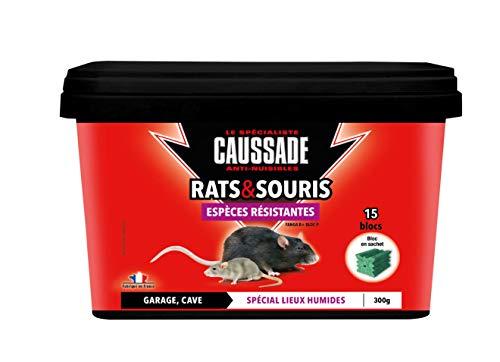 Caussade CARSBLBF300 Anti Rats & Souris   15 Blocs   Lieux Humides   Garage Cave   300g   Espèces résistantes   Efficacité Maximale