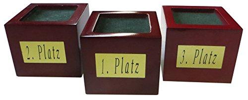 Kaltner Präsente Geschenkidee - Pokal Sockel aus Echtholz in Mahagoni Optik 3er Set mit Messingschild
