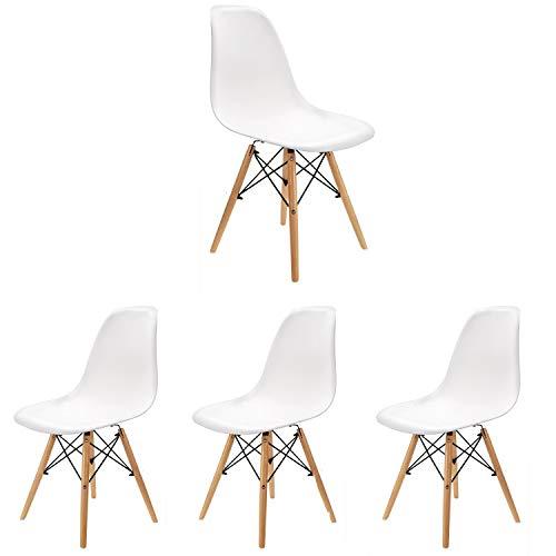 4er-Set Esszimmerstuhl im modernen Stil Mitte Jahrhundert modernen Stuhl Shell Lounge für Küche Esszimmer Schlafzimmer mit skandinavischen Stühlen bequemen Holzstuhl perfekt für Ihr Zuhause(Weiß, 4)