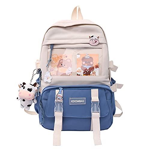 AeasyG Mochila Kawaii con Bonitos Accesorios estéticos, Estilo japonés Harajuku, Bonita Mochila Escolar en Colores Pastel para niñas Adolescentes, Gran Capacidad, 4 Colores