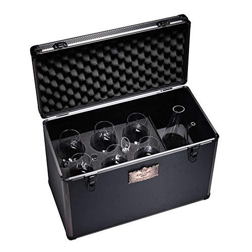 U/S Copa de vino tinto hecha a mano, copa de vino tinto de la serie Starry Sky Series, sin plomo, juego de 6 copas de vino tinto de 680 ml + decantador en forma de U + maleta