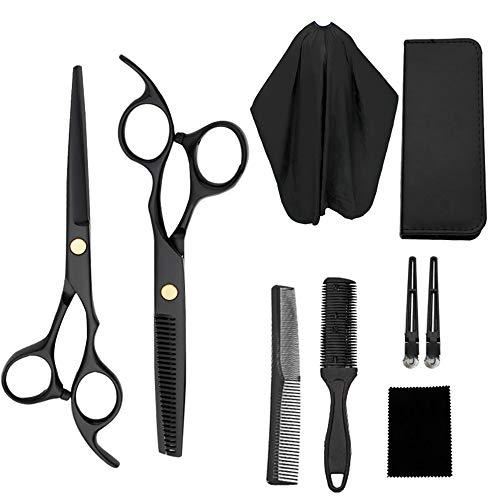 Haarschere Set, 2 Profi Extra Scharfe Edelstahl Friseurscheren, Haarschneideschere Licht Einseitiger Effilierer, Modellieren Professionelle Friseur-Sets für Damen, Herren und Kinder