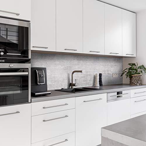 Dedeco Küchenrückwand Motiv: Beton V3, 5mm Hartschaum Kunststoffplatte PVC als Spritzschutz Küchenwand Wandschutz wasserfest, inkl. UV-Lack glänzend, alle Untergründe, 260 x 60 cm