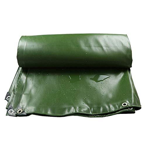 KDMB Lona Resistente Material de PVC a Prueba de Polvo y Engrosamiento Doble Cara Impermeable Desgaste y Lona para Exteriores Duradera -700g / m, 0,7 mm Verde (Tamaño: 3x4M)