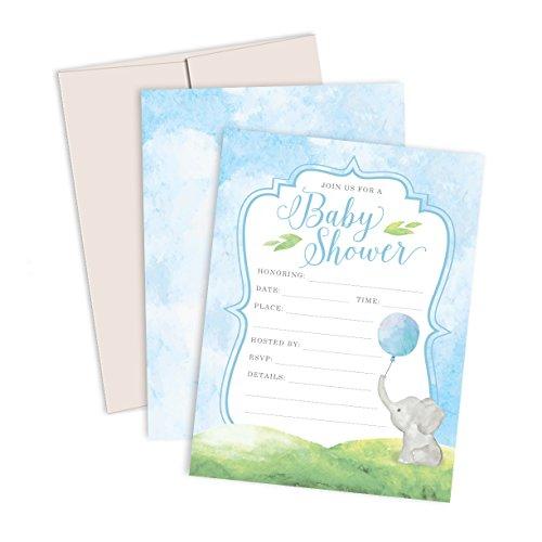Watercolor Elephant Baby Shower Invitations: 12 Premium...