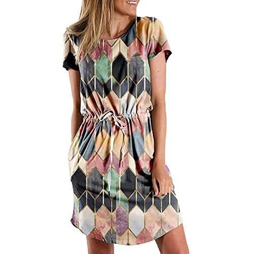 Damen Sommer Rhombus Print Kurzarm Kleid Rundhals Krawatte Kleid Rock