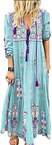 Alilyol 2021 New Women's Long Sleeve Floral Print Bohemian Maxi Dresses with Slit