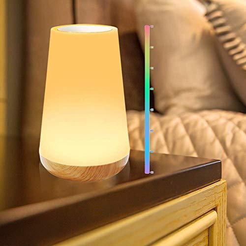 KIPIDA Lampada da Comodino a LED Intelligente, Luce Notturna Bambini Dimmerabile,RGB Colorata Lampada con Controllo Tattile, Regolabile 3 Modi di Illuminazione per Camera da Letto, Uffcio, Campeggio