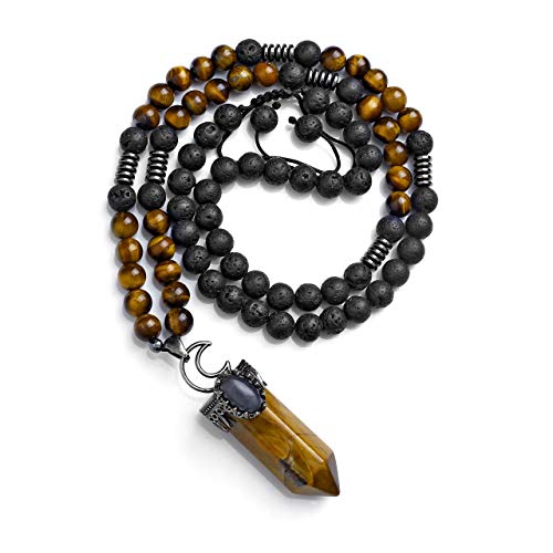 JOVIVI Tiger Eye Lava Stone Anxiety Mala Prayer Beads Yoga Meditation Long Necklace Natural Hexagonal Gemstone Healing Crystal Point Pendant Women Men Jewellery