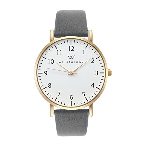 WRISTOLOGY Olivia Gold Womens Watch - for Nurses Large Face Analog Easy to Read Numbers with Second Hand Charcoal Grey Leather Band