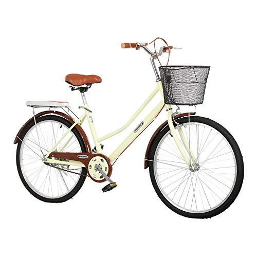 Bicicleta, Bicicleta de Viaje de Moda Retro, Bicicleta de Ocio de una Sola Velocidad de 26 Pulgadas, Marco de Bajo Alcance, Asiento Ajustable, para Adultos/Adolescentes/A/Como se mues