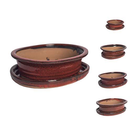 Keramik Bonsaischale in verschiedenen Groessen - ROT - hochwertiger Blumentopf mit Unterteller/Schale - geflammt für drinnen und draussen, oval - Indoor/Outdoor (27 x 22 x 7 cm)