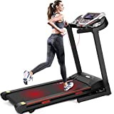 Fitnessclub Folding Treadmill, 2.5 HP Electric Incline Running Motorised Machine with Dual Bluetooth Speaker, LCD Monitor,Tablet Holder for Walking Jogging Trainer in Home Gym, Cardio Fitness Exercise