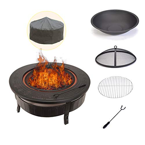 Liangqgmzzn Fire Pit and Outdoor Heaters Garden and Camping 20 Inch Black/high Temperature Paint Fire Pit Burner Kit