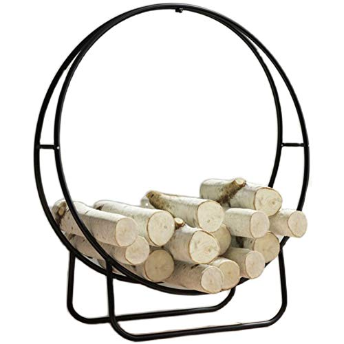 23 Inches Solid Iron Log Hoop Heavy Duty Firewood Racks, Small Wood Storage Rack Holder for Indoor & Outdoor Fireplace Pit (Color : Black)